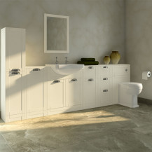 Nottingham Ivory Semi Inset 2 Tap Hole Furniture Bathroom Suite with Park Royal™ Toilet