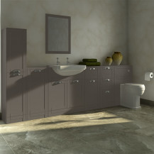 Nottingham Grey Semi Inset 2 Tap Hole Furniture Bathroom Suite with Park Royal™ Toilet