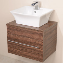 Aspen™ 600 Wall Mounted Walnut Cabinet with Pisa Basin