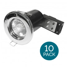 10 Pack - Fixed Fire Rated Downlight - Chrome IP20