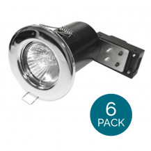6 Pack - Fixed Fire Rated Downlight - Chrome IP20