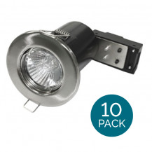 10 Pack - Fixed Fire Rated Downlight - Brushed Steel IP20