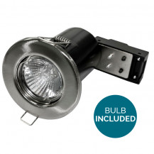 Fixed Fire Rated LED Brushed Steel Downlight - Bulb Included