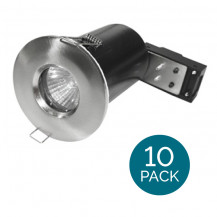 10 Pack Fixed Fire Rated IP65 Brushed Steel Downlight