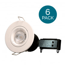 6 Pack - Fixed Fire Rated Downlight - White Twist & Lock