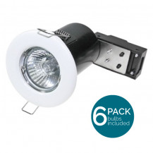6 Pack Fixed Fire Rated LED White Downlight - Bulbs Included