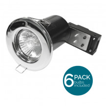 6 Pack Fixed Fire Rated LED Chrome Downlight - Bulbs Included