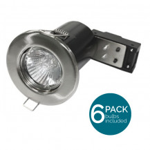 6 Pack Fixed Fire Rated LED Brushed Steel Downlight - Bulbs Included