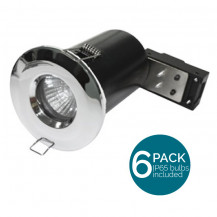 6 Pack Fixed Fire Rated IP65 LED Chrome Downlight - Bulbs Included