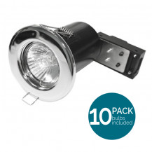 10 Pack Fixed Fire Rated LED Chrome Downlight - Bulbs Included
