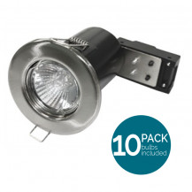 10 Pack Fixed Fire Rated LED Brushed Steel Downlight - Bulbs Included