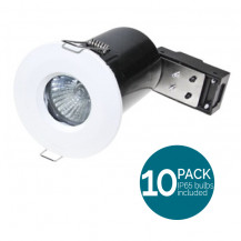 10 Pack Fixed Fire Rated IP65 LED White Downlight - Bulbs Included