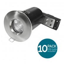 10 Pack Fixed Fire Rated IP65 LED Brushed Steel Downlight - Bulbs Included