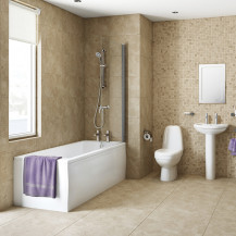 1670 Straight Shower Bath Suite with Toilet and Basin Set, Taps, Shower and Waste