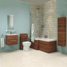 Aspen Walnut Left Hand  L Shaped Showerbath Complete Bathroom Suite