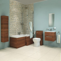 Aspen Walnut Right Hand  L Shaped Shower Bath Complete Bathroom Suite
