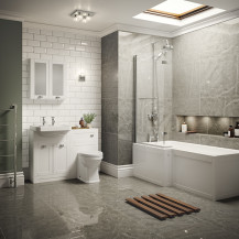 Nottingham White Park Royal Left Hand L Shaped Shower Bath Complete Suite