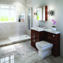 Left Hand Tabor Walnut Combination Complete Shower Bathroom Suite