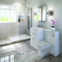 Left  Hand Tabor White Combination Complete Shower Bathroom Suite
