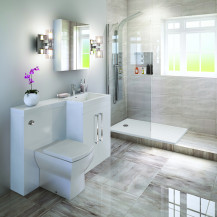 Right Hand Tabor White Combination Complete Shower  Bathroom Suite