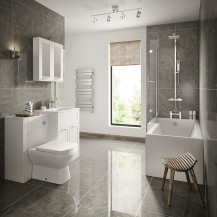 Nottingham White Left Hand L Shaped Shower Bath Complete Suite