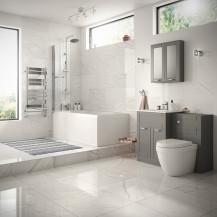 Nottingham Grey Left Hand P Shaped Shower Bath Complete Suite