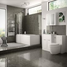Nottingham White Left Hand P Shaped Shower Bath Complete Suite