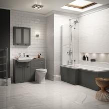 Nottingham Grey Park Royal Left Hand L Shaped Shower Bath Suite