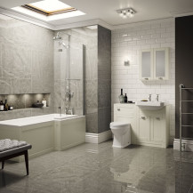 Nottingham Ivory Park Royal Right Hand L Shaped Shower Bath Complete Suite
