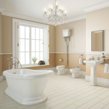 Park Royal Freestanding Bath with High Level Traditional Toilet Complete Suite