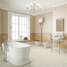 Traditional Park Royal Freestanding Bath with High Level Toilet Complete Suite
