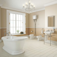 Traditional Park Royal Slipper Bath with High Level Toilet Complete Suite
