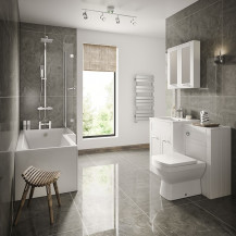 Nottingham White Right Hand L Shaped Shower Bath Complete Suite