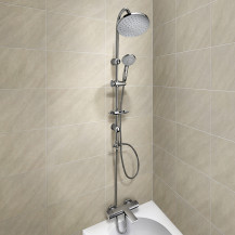 Vitalia Wall Mounted Thermostatic Bath Shower Mixer with Nico Riser Slide Shower Rail Kit