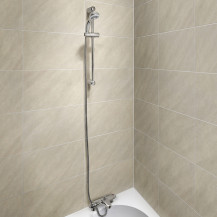 Laos Deck Thermostatic Bath Shower Mixer with Primo Slide Shower Rail Kit