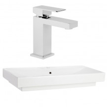Vico 1 Tap Hole White Ceramic Basin with Cube Basin Mixer
