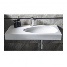 Garda White Ceramic Wall Hung or Counter Top Basin with Latzio Waterfall Basin Mixer with pop up