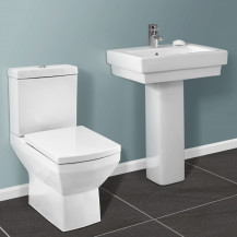 Tabor Close Coupled Toilet & Brianza Full Pedestal Two Piece Suite