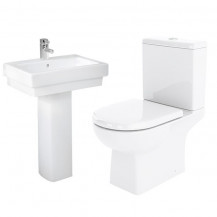Salou Toilet & Turin Full Pedestal Two Piece Suite