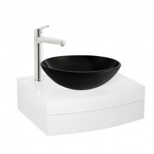 Kendra 600 Wall Mounted Vanity Unit & Arabella Black Painted Glass Basin with Perla Extended Basin Mixer