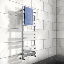 Juliet 1200 x 500mm Flat Chrome Heated Towel Rail