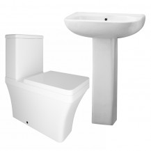 Milan Close Coupled Toilet & Carona Full Pedestal Two Piece Suite