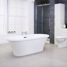 Venice 1670 x 730 Double Ended Luxury Freestanding Bath with Integrated Waste