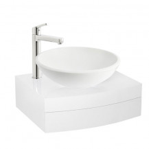 Kendra 600 Wall Mounted Vanity Unit & Arabella White Painted Glass Basin with Perla Extended Basin Mixer