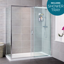 Aquafloe™ Iris 8mm 1200 x 800 Sliding Door Shower Enclosure with Slim Line Shower Tray