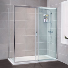Aquafloe™ Iris 8mm 1200 x 800 Sliding Door Shower Enclosure with Slim Line Shower Tray, Waste and Shower