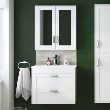 Nottingham White 600 Two Drawer Wall Hung Vanity Unit