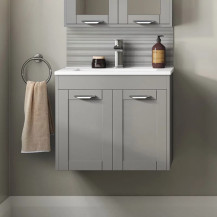 Nottingham Grey 600 Two Door Wall Hung Vanity Unit