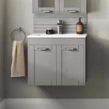 Nottingham Grey 600 Two Door Wall Hung Vanity Unit