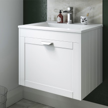 Nottingham White 600 Single Drawer Wall Hung Vanity Unit